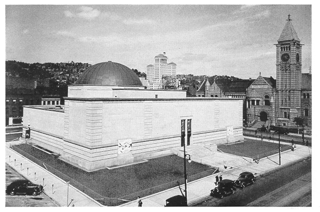 1939 photograph of Buhl Planetarium and Carnegie Library on Lower North Side